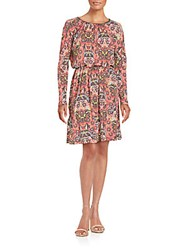 M Missoni Printed Long Sleeve Blouson Dress Watermelon