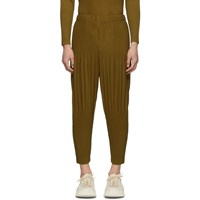 Homme Plisse Issey Miyake Tan Cropped Wide Pleat Trousers