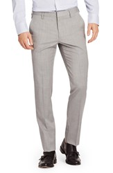 Bonobos Big And Tall Jetsetter Slim Fit Flat Front Solid Stretch Wool Trousers Light Grey