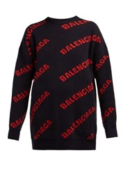 Balenciaga Logo Patterned Wool Blend Sweater Navy Multi