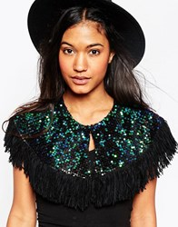 Asos Mini Cape With Holographic Sequins And Fringe Green