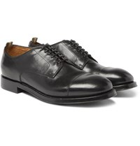 Officine Creative Williams Cap Toe Polished Leather Derby Shoes Black