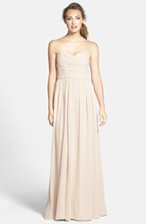 Women's Monique Lhuillier Bridesmaids Strapless Ruched Chiffon Sweetheart Gown Champagne