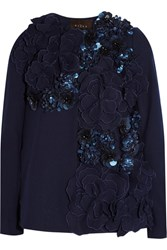 Biyan Carla Embellished Appliqued Wool Blend Jacket Blue