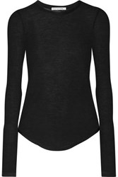 Frances De Lourdes Romy Slub Cashmere And Silk Blend Top Black