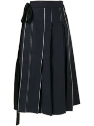 Sara Lanzi Pleated Pareo Skirt Blue