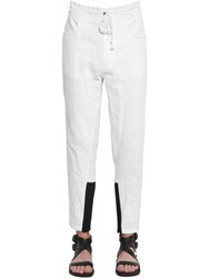 Ann Demeulemeester Slim Cotton And Linen Pants W Knit Cuffs White