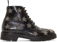 Saint Laurent Black Star Ankle Boots Army