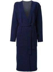 En Route Belted Long Knitted Coat Blue