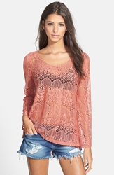 Astr Long Sleeve Lace Front Top Dusty Rose