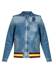 J.W.Anderson Detachable Hood Distressed Denim Jacket Blue Multi