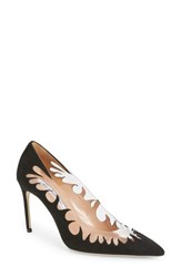 Brian Atwood Victory Cutout Pointy Toe Pump Black Suede