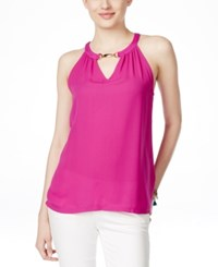 Inc International Concepts Embellished Halter Top Only At Macy's Magenta Flame