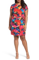 Ellen Tracy Plus Size Women's Print Jersey Sheath Dress Red Multi
