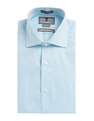 Black Brown Checked Dress Shirt Teal