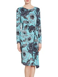 Gina Bacconi Watercolour Floral Print Jersey Dress Turquoise Grey