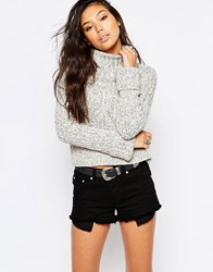 Free People Twisted Cable Cowl Neck Jumper Ivory Combo White