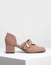 Charles And Keith Gold Buckle Detail Mary Janes Taupe