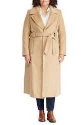Lauren Ralph Lauren Plus Size Wool Blend Belted Wrap Coat Camel