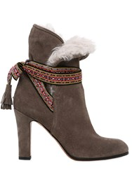 Etro 95Mm Suede And Shearling Ankle Boots
