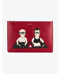 Dolce And Gabbana Designer Patch Leather Document Case Red Multi Coloured White