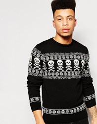 Vacant Christmas Jumper In Fairisle Black