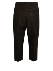 Rick Owens Slim Leg Jacquard Cropped Trousers Black