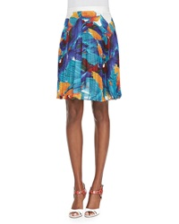 Elle Sasson Hoki Pleated Flying Birds Print Skirt