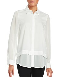 Calvin Klein Button Front Long Sleeved Blouse Soft White