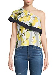 Lucca Couture Jacqueline Lemon Print One Shoulder Top