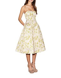 Cynthia Rowley Floral Fit And Flare Dress Pink Green