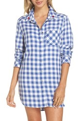 Make Model 'S Plaid Nightshirt Blue Marine Gingham