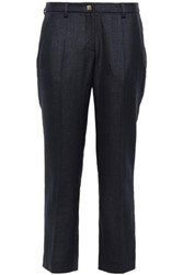 Versace Collection Woman Cropped Woven Straight Leg Pants Midnight Blue