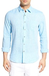 Men's Toscano Chambray Linen Sport Shirt Ocean Blue