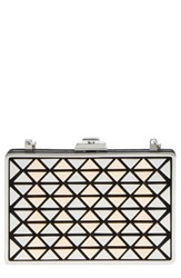 Vince Camuto Fit Metal And Suede Minaudiere Black