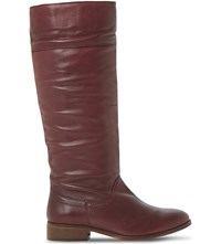 Bertie Tiffin Knee High Leather Boots Burgundy Leather