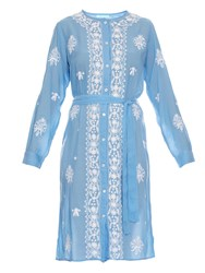 Melissa Odabash Fleur Embroidered Long Sleeved Kaftan