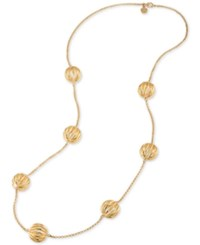 Trina Turk Gold Tone Cut Out Bead Long Necklace