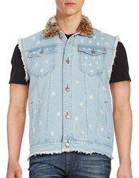 Laboratory Lt Man Faux Fur Denim Vest Indigo