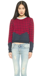 Endless Rose Houndstooth Sweater Red Multi