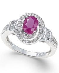 Macy's Ruby 7 8 Ct. T.W. And Diamond 3 8 Ct. T.W. Ring In 10K White Gold