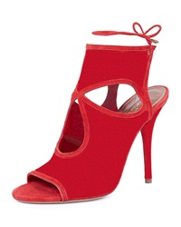 Aquazzura Sexy Thing Cutout Ankle Wrap Bootie Red
