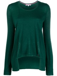 Patrizia Pepe Asymmetric Relaxed Fit Pullover Green