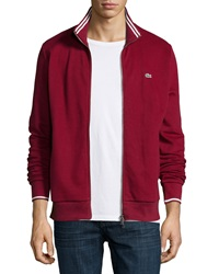 Lacoste Full Zip Tipped Track Jacket Dark Red