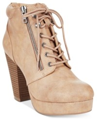 Material Girl Rheta Lace Up Platform Booties Only At Macy's Women's Shoes Sand