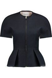 Vionnet Cotton Blend Cloque Peplum Jacket Blue