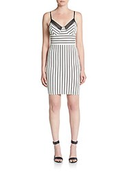 Romeo And Juliet Couture Striped Jacquard Knit Bustier Dress White Black