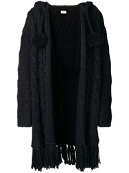 Saint Laurent Fringed Cable Knit Cardigan Black