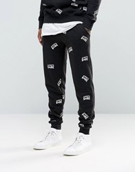 Heros Heroine Skinny Joggers With All Over Print Black