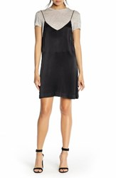 Kendall Kylie Women's Linen Tee And Satin Slipdress Set